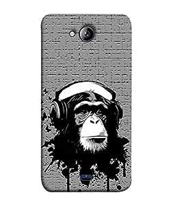 PrintVisa Designer Back Case Cover for Micromax Bolt Q338 (Black&Grey Monkey Animal Music Fun )
