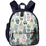 Lovely Schoolbag Many Plants and Cactus Double Zipper Waterproof Children Schoolbag with Front Pockets for Teens Boy Girl