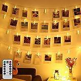 Clip Cadena de Luces LED, 5m 40LEDs Fotoclips Guirnalda de Luces para Decoración de Fotos (blanco cálido)