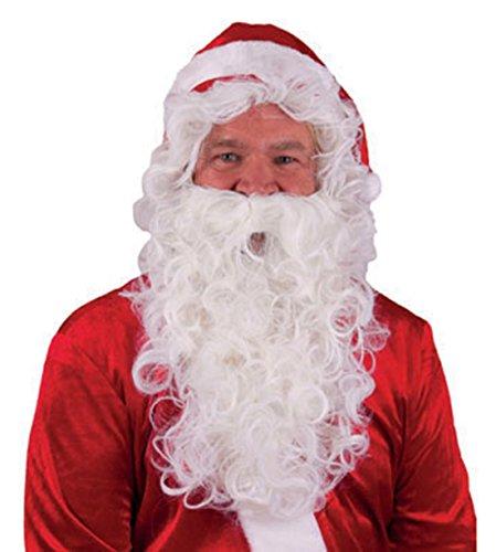 Faschingsfete Weihnachts Kostüm Zubehör- Perücke mit Bart- Rauschebart- Weihnachtsmann- Santa Claus, Erwachsene, Weiß