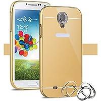 Funda Espejo Aluminio Metal Carcasa para Samsung Galaxy S4 Mini Color Oro