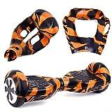 6,5' Housse/Coque De Protection En Silicone Pour Hoverboard Segway 2 Roues, Cool&Fun Coque Anti-rayures Etanche,Camouflage Orange et Noir