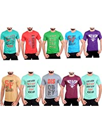 Krystle Pack Of 10 Casual Round Neck Cotton Printed T-Shirts