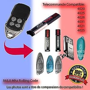 Compatible avec Sommer 4020, Sommer 4025, Sommer 4026, Sommer 4031, Aperto 4021, Aperto 4025 Télécommande de remplacement