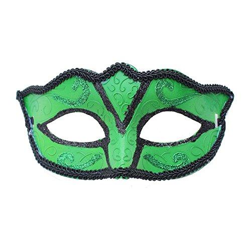 (PromMask Masken Gesichtsmaske Gesichtsschutz Domino falsche Front Halloween Männer und Frauen Make-up Abschlussball Maske Halb Gesicht Maske grün)