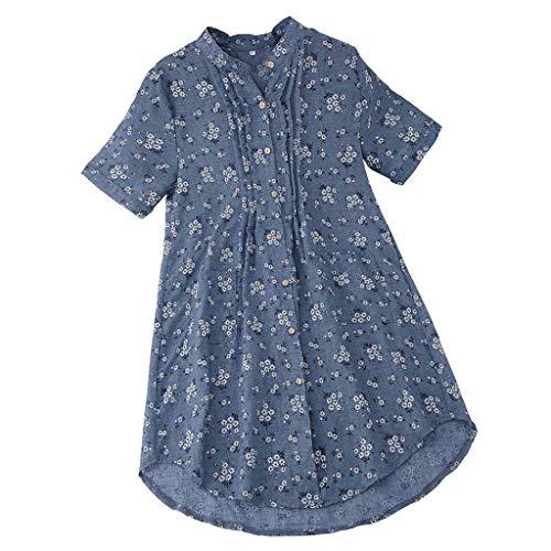 (Frauen-Weinlese-Tupfen-Blumendruck-O-Ansatz Knopf-Kurzschluss-Hülsen-Freizeit-Bluse T-Shirt(Himmelblau,XL))