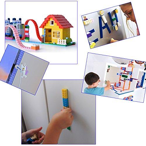 ☀ 2 Rollen Block Tape Noppen Klebeband für Lego Bausteine Bastelset ☀ (blau / schwarz) - 3