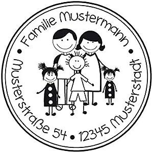 Familienstempel | Familienmitglieder mit Familienname und Adresse | Eltern mit 1 Jungen und 2 Mädchen