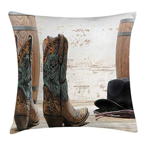 Yinorz Western Throw Pillow Cushion Cover, American Rodeo Theme Cowgirl Design Leather Boots Fancy Hat Rustic Picture, Decorative Square Accent Pillow Case, 18 X 18 Inches, Brown Teal Black -