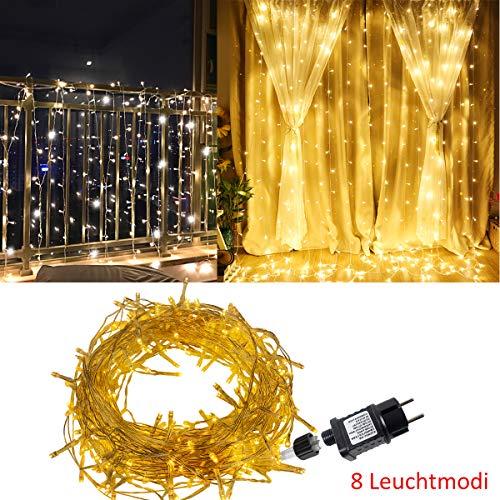 Aufun LED Lichtervorhang Warmweiß 3x6m, 600 LEDs Lichterkette mit einem Stecker, IP44 Wasserdicht Vorhang Licht für Innen und Außen Weihnachten, Partydekoration, 8 Leuchtmodi mit Speicherfunktion