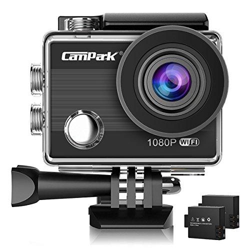 Action cam, campark act68 wifi sport action camera 1080p full hd 12mp impermeabile videocamera con 2 batterie e kit accessory inclusi