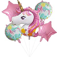 iTelker Unicorn Balloon Birthday Party Decoration, Pink Unicorn Polyester Film Balloon, Suitable for Unicorn Party Supplies, Baby Shower, Home Office Decoration, Birthday Party(5PCS)