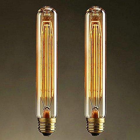 2 X Vintage Edison Glühbirne Retro Glühlampe Warmweiß Edison Lampe E27 40W T185 Röhre ideal für Nostalgie Birne und Antik Leuchtmittel