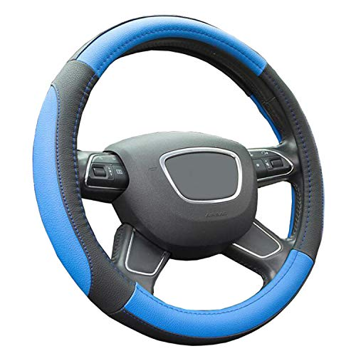 Finoki Auto Universal Anti Rutsch Atmungsaktive Lenkradhülle Lenkradbezug Lenkradschoner aus Mikrofaser-Leder 30-38cm (Blau)
