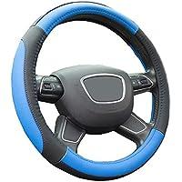 Finoki Auto Universal Anti Rutsch Atmungsaktive Lenkradhülle Lenkradbezug Lenkradschoner aus Mikrofaser-Leder(36-38cm) (Blau)