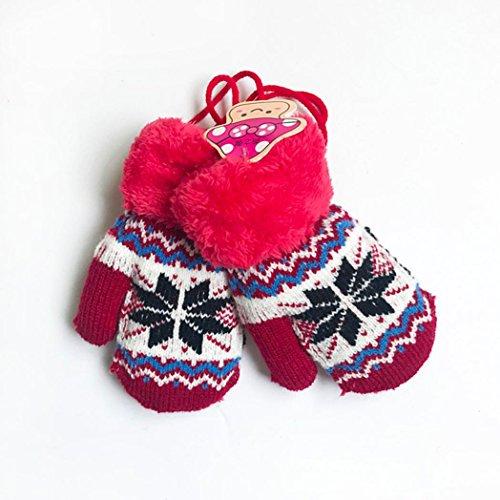 anly® Baby Jungen Mädchen Gestrickter Schneeflocke Handschuhe Winter Warm Full Finger Fäustling Geschenk, Kinder, rot (Katze Krallen Für Halloween)