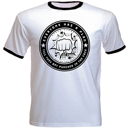 urban shaolin Men's Boxing Mike Tyson Inspired Quote Crew Neck Regualr Fit T Shirt, White With Black Trim