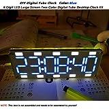 MakerHawk Horloge numérique de Tube DIY 6 Chiffres LED Grand écran Bicolore Kit numérique d'horloge de Bureau à écran Tactile pour Kits compatibles avec Arduino Kits de Bricolage (Couleur: Bleu)