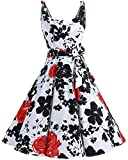 Bbonlinedress Vestidos de 1950 Estampado Vintage Retro Cóctel Rockabilly con Lazo RedFlower XS