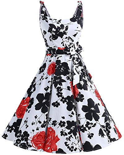 bbonlinedress 1950er Vintage Polka Dots Pinup Retro Rockabilly Kleid Cocktailkleider RedFlower S