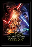 Star Wars EP7 One Sheet Episode7 Das Erwachen der Macht Poster Plakat Größe 61x91,5cm + Wechselrahmen, Shinsuke® Maxi MDF schwarz, Acryl-Scheibe