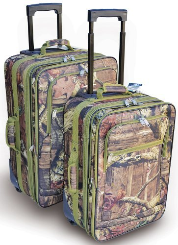 Explorer Mossy Oak -Realtree Like- Hunting Camo Heavy Duty Luggage with Pulling Handles 2 Wheels 20 Inch 24 Inch 2 Pcs Set with Side Handlers by Explorer