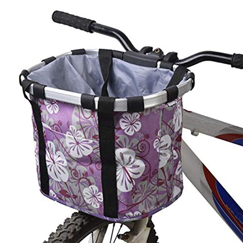 YAOBAO Fahrrad-vorderer Korb, faltendes kleines Haustier-Katze-Hundeträger-Frontabnehmbare Fahrradlenkerkorb-Speicher-Organisator-Fahrradkorb für Picknick im Freien