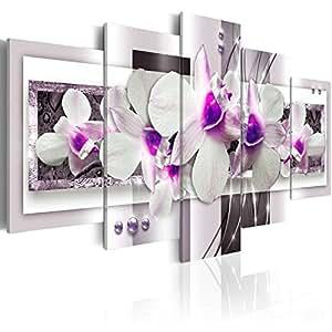 Quadro 200x100 cm ! Tre colori da scegliere - 5 Parti - Grande Formato - Quadro su tela fliselina - Stampa in qualita fotografica - astrazione fiori orchidea b-A-0042-b-p 200x100 cm B&D XXL