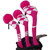 Rose white Argyle Style Knit Golf Headcover, Set of 3 for Driver Wood(460cc) Fairway Wood and Hybrid/UT
