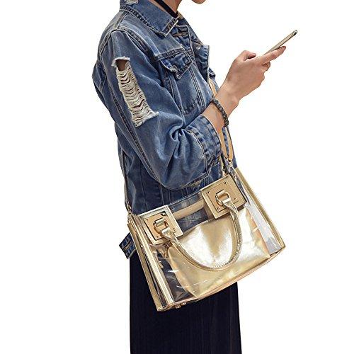 Durchsichtige Tasche Clear Crossbody Tote Bag Messenger Bag Geldbörse und Handtasche für Frauen Gold