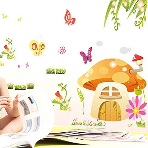 GHUJFDB Schmetterling Pilz Blume Märchen Cartoon Wandaufkleber Kinderzimmer Dekorative Aufkleber Kinderzimmer Dekor 140 * 80 cm -