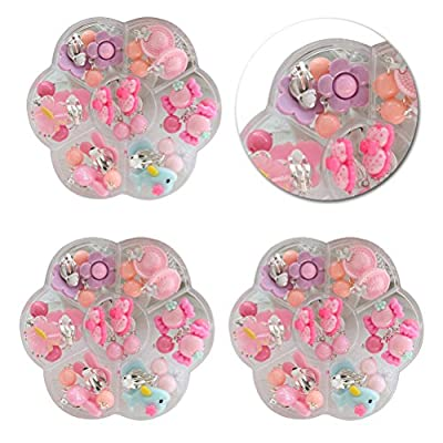 TOYMYTOY Clip-on Earrings Set Little Girls Birthday Gift for Pretend Role Play Earrings Box Set 14 Pairs