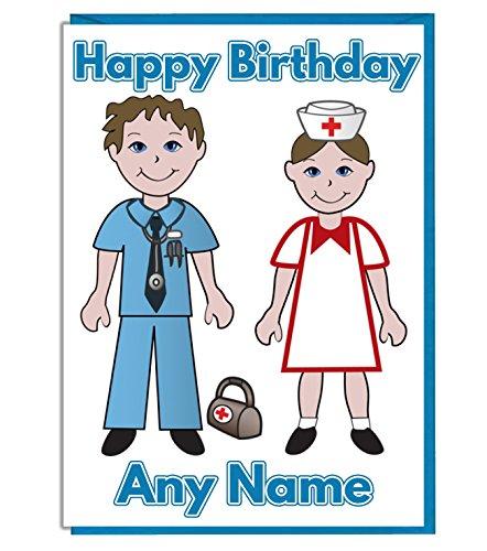 Arzt und Krankenschwester Personalisierte Geburtstagskarte–Jeder Name und Alter Druck auf der Vorderseite