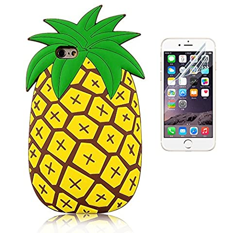 Bonice iPhone 6 Plus/6S Plus Case with Screen Protector, Flexible Premium Soft Rubber Silicone Skin Lightweight Anti-slip Shock Absorption Bumper Cartoon 3D Design Practical Protective Shell Cover - Pineapple,5.5