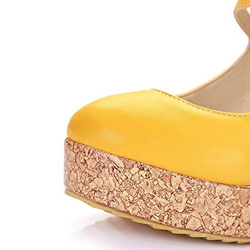 VogueZone009 Femme à Talon Haut Matière Souple Couleur Unie Boucle Rond Chaussures Légeres Jaune