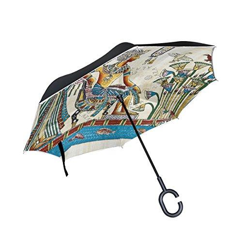 jstel Double Layer seitenverkehrt Vintage Ägypten Art Regenschirm Cars Rückseite winddicht Regen Regenschirm für Auto Outdoor mit C geformter Griff