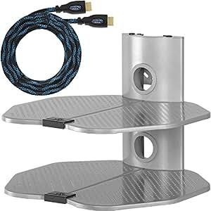 Étagère Murale par Cheetah Mounts (AS2S) pour Ecran Plat, LCD, Plasma avec Gestion des Câble, Deux Etagères Pouvant Supporter Les Accessoires Pour Téléviseur tel que Lecteurs DVD / Blu-Ray, Console de Jeu PS3 Xbox 36 et Décodeurs, Taille 45 x 40 cm, Couleur Grise Argenté; Il comprend un câble HDMI Twisted Veins de 4,5 mètres