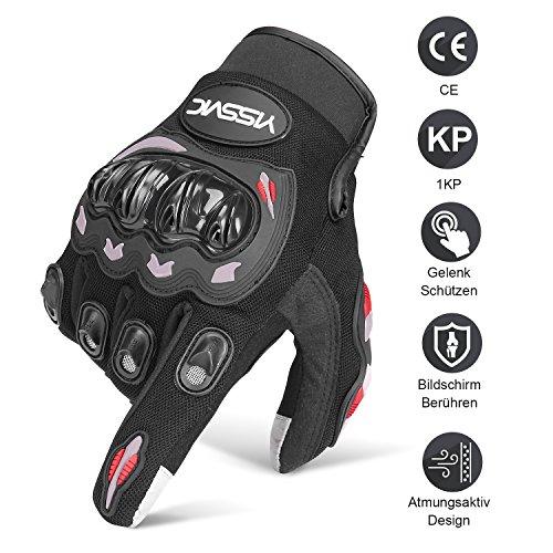 Yissvic Motorrad Handschuhe Motorradhandschuhe Touchscreen Sport Handschuhe für Motorrad Radfahren Camping Outdoor L