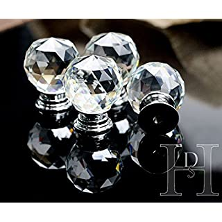 16 x Crystal Glass Clear Cupboard Door / Drawer Knobs *Mabel* 40mm Drawer Kitchen Silver