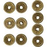 9a898a30c5 Lsgepavilion - Set di 10 Monete Cinesi Portafortuna, con Foro Quadrato,  Ornamenti da Appendere