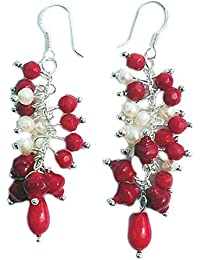 Rote Koralle & Perlen Ohrringe mit 925 Silber Stift