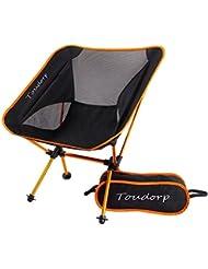 Toudorp extérieur pliante inclinable Chaise de camping de sol pour plage, pique-nique, camping, randonnée, vélo, pêche, tourisme et voyages de chasse avec sac de transport