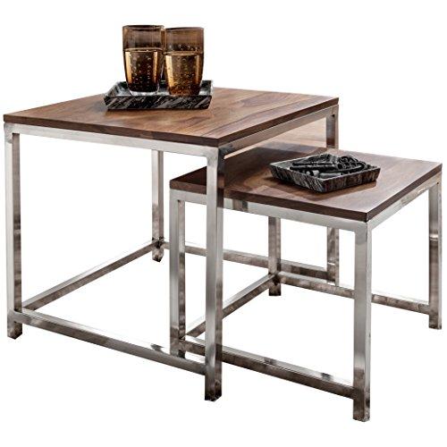 WOHNLING 2er Set Satztisch Massiv-Holz Sheesham Wohnzimmer-Tisch Metallgestell Landhausstil Beistelltisch Couchtisch Natur-Produkt Wohnzimmermöbel Unikat modern Massivholzmöbel Echtholz Anstelltisch -