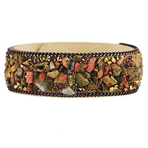 QWERST Bracelet Mode Frauen Charme Wickeln Armbänder Lederarmbänder Mit Kristallen Stein Paar Schmuck D
