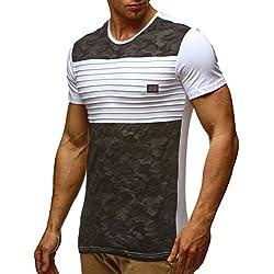LEIF NELSON LN405 - Camiseta de manga corta y cuello redondo con diseño de camuflaje para hombre Weiß medium