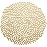 Chilewich Dahlia Round Floral Placemat, 14.25 by 15.25-Inch, Gold by Chilewich