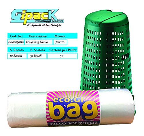 Sacchi trasparenti raccolta differenziata, spazzatura grandi in plastica ldpe misura cm 70x110 - 50 sacchi (5 rotoli x 10). buste e sacchi per immondizia, sacchetti per rifiuti pattumiera, spazzatura.