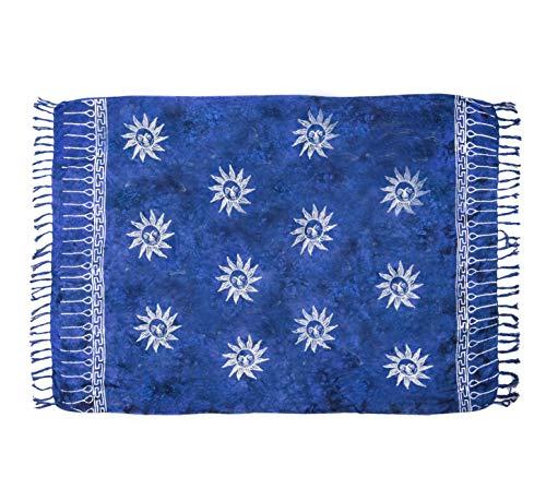 MANUMAR Damen Pareo blickdicht, Sarong Strandtuch in royal blau schwarz mit Sonne Motiv, XL 175x115cm, Handtuch Sommer Kleid im Hippie Look, für Sauna Hamam Lunghi Bikini