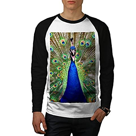 Charmant Paon Queue Gros Oiseau Homme M T-shirt à manches longues | Wellcoda