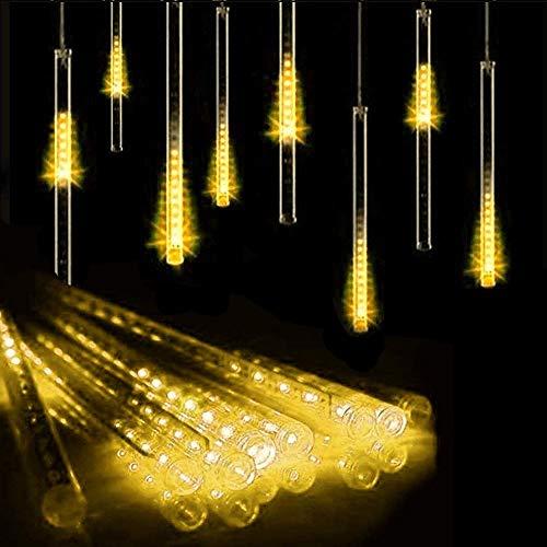 10 Tubes 30CM LED Météore Pluie Lumineuses Guirlandes Solaire ,DINOWIN Lumineux Etanche Extérieur Douche Pluie Feux pour Noël Mariage Fête Soirée Maison Arbre Sapin Jardin (Blanc chaud)